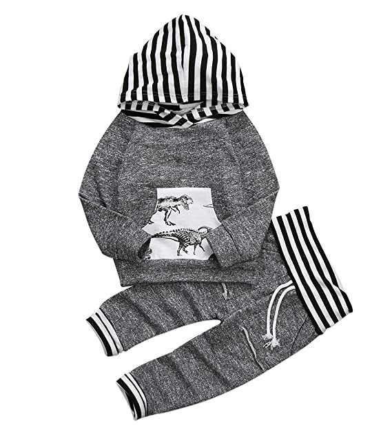 7f21ff4a29ac4 Toddler Infant Baby Boys Dinosaur Long Sleeve Hoodie Tops Sweatsuit Pants  Outfit Set (0-
