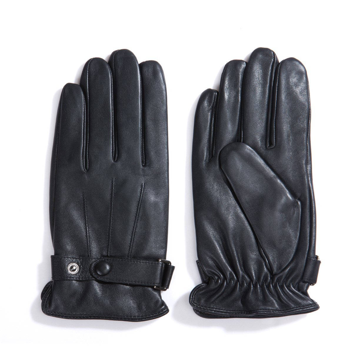 MATSU Men Winter Warm Lambskin Leather 100% Cashmere lined Touch Screen Gloves M2011