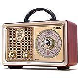 AM FM Shortwave Radio Retro Portable Transistor Radio, AC Battery Powered Radio with 3-Way Power Sources, Enhanced Bass, AUX