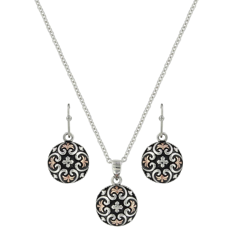 Filigree Heart Button Jewelry Set (JS3637)