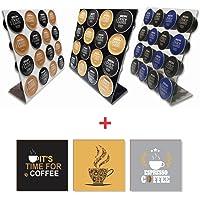 Conjunto 3 Porta Capsulas Dolce Gusto 3 Cores + 3 Quadrinhos Café