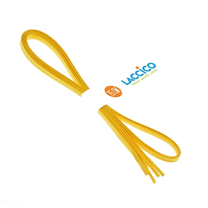 7feb1968adbd2 LACCICO Men's Flat Waxed Shoelaces width 6mm. 4 Length 75cm to 150cm YELLOW