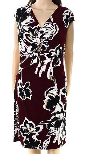 Lauren Ralph Lauren Womens Wilber-Berlin Floral Print Wear to Work Dress