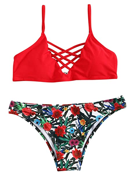 d018c24a01 SweatyRocks Women Red Bathing Suit Spaghetti Strap Floral Print Crisscross  Bikini Set