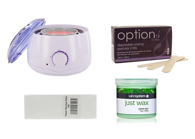 All in one waxing kit With tea tree Wax wax heater strips and spatulas wax kit Just Beauty