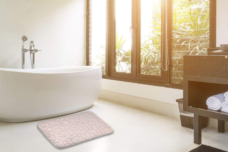 Shower Rug Bathroom Mat Non Slip Kitchen Rug Absorbent Soft Microfiber Machine Washable Bathroom Rugs Toilet Mat AJOXEL Bath Mat with 4 Pack Rug Grippers 50x80cm Grey Colour