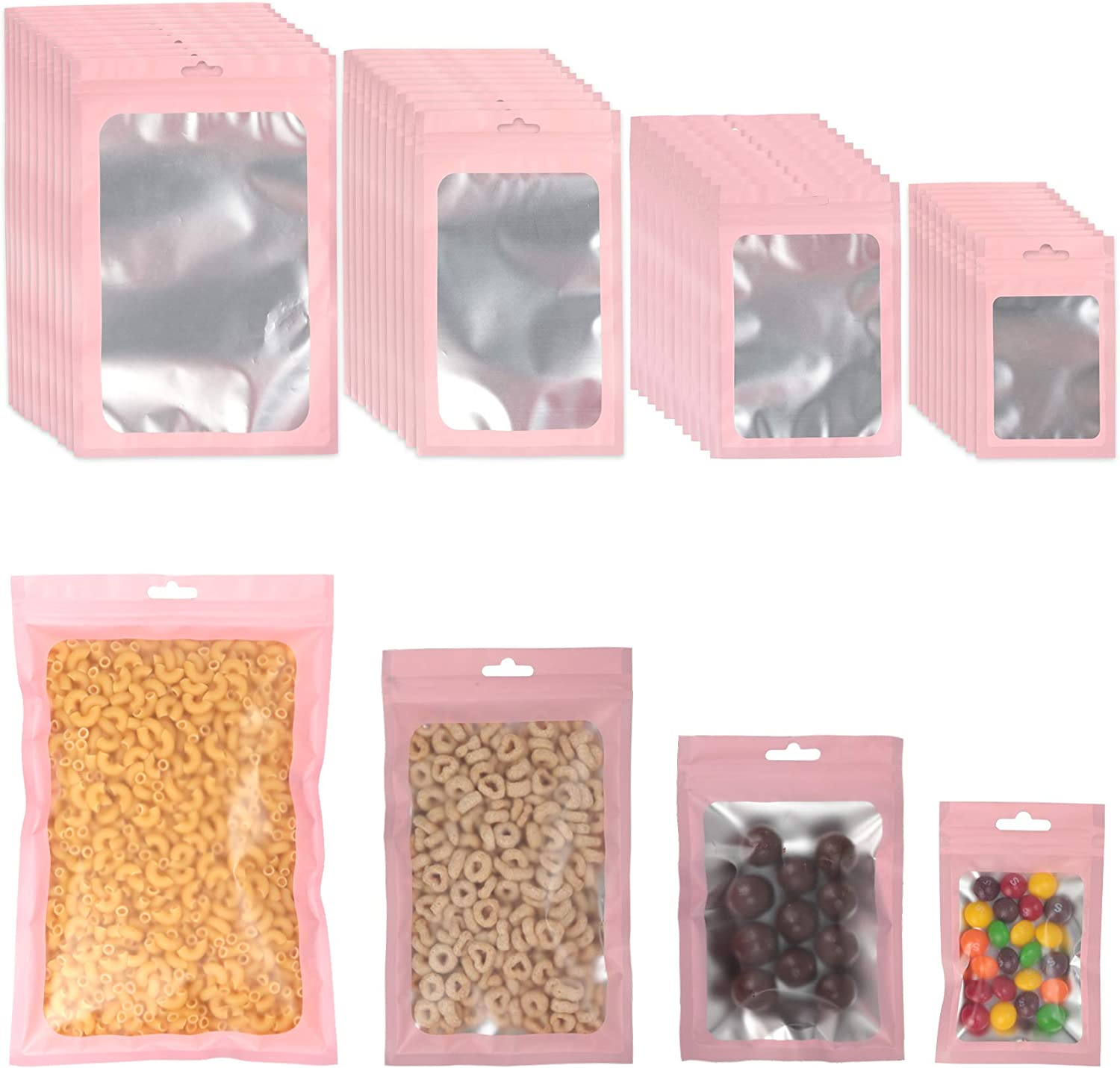PUiKUS 100 PCS Reusable Mylar Bags ,Smell Proof Bags with Ziplock and Clear Window, for Candy and Food Packaging, Food Self Sealing Storage Supplie (Pink)