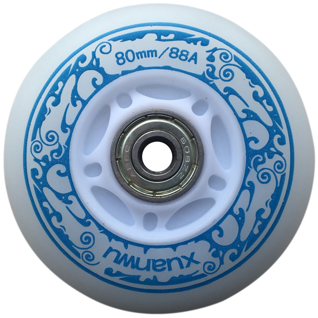 you-beat-you-land Light Up Led Inline Skates Pu Wheels Outdoor and Indoor Rubber Wheels Pack of 4 Blue-72mm by you-beat-you-land