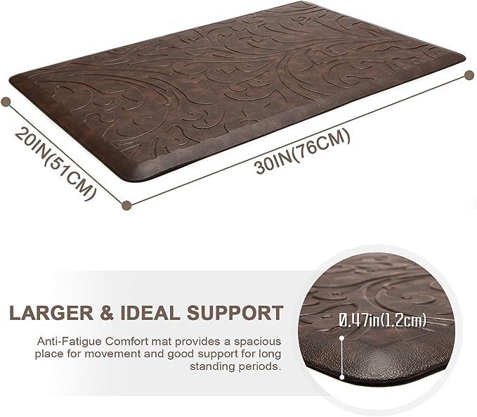 W KMAT Kitchen Mat Cushioned Anti-Fatigue Floor Mat Waterproof Non-Slip Standing Mat Ergonomic Comfort Floor Mat Rug for Home,Office,Sink,Laundry,Desk 20 L ,Brown x 39
