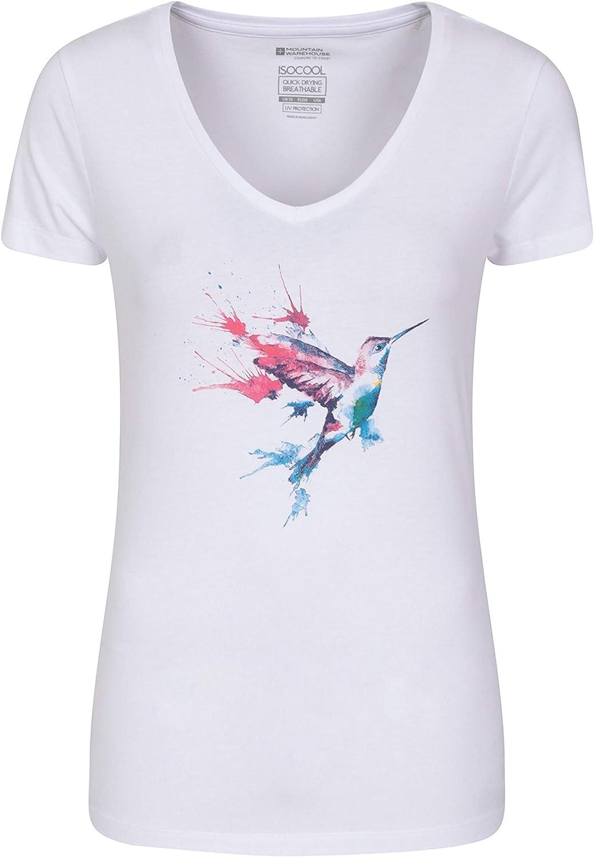 Top con Scollo a V Corsa Escursionismo ed Esterni T-Shirt con Protezione UV Ottima per LEstate t Shirt Leggera Mountain Warehouse Polo UV da Donna