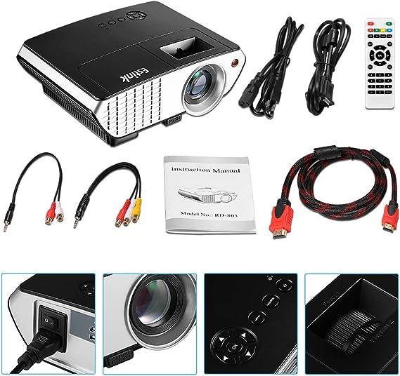 Mini Proyector LED - Video Proyector 2000 Lúmenes, 800*480 Soporte ...