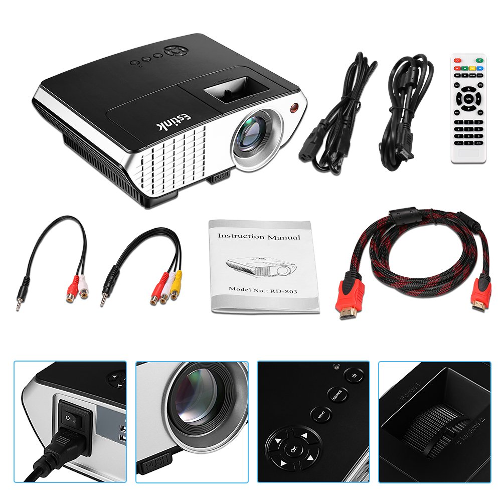 Mini Proyector LED - Video Proyector 2000 Lúmenes, 800*480 Soporte ...