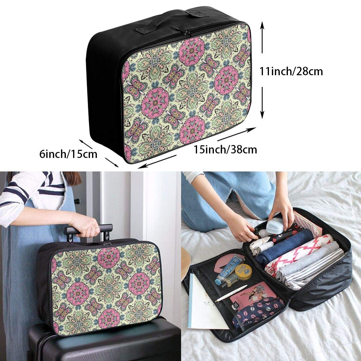 Travel Duffel Bag Waterproof Fashion Lightweight Large Capacity Portable Luggage Bag Bohemian Psychedelic Mandala