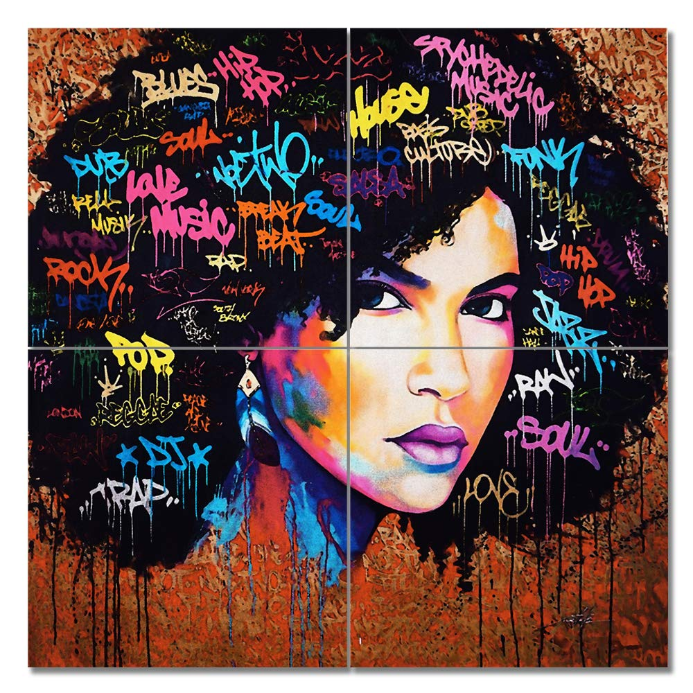 Viivei african american canvas bedroom home decor decal wall art canvas painting graffiti abstract style poster print painting decoration living room simple