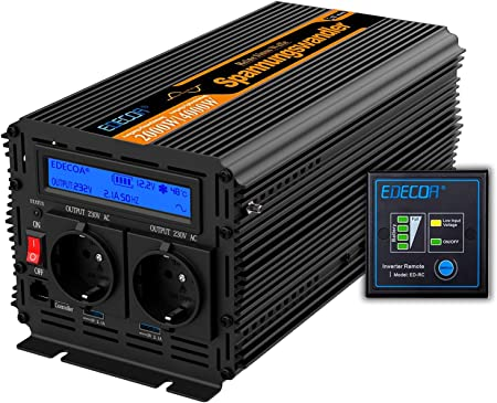 Edecoa Wechselrichter 2000w Reiner Sinus Elektronik