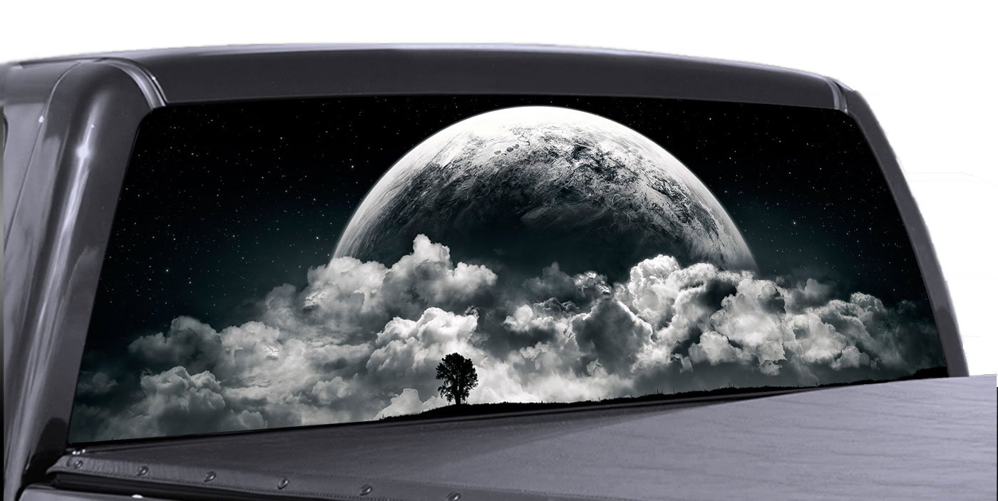 Amazon com vuscapes full moon rising rear window truck graphic decal suv view thru vinyl automotive