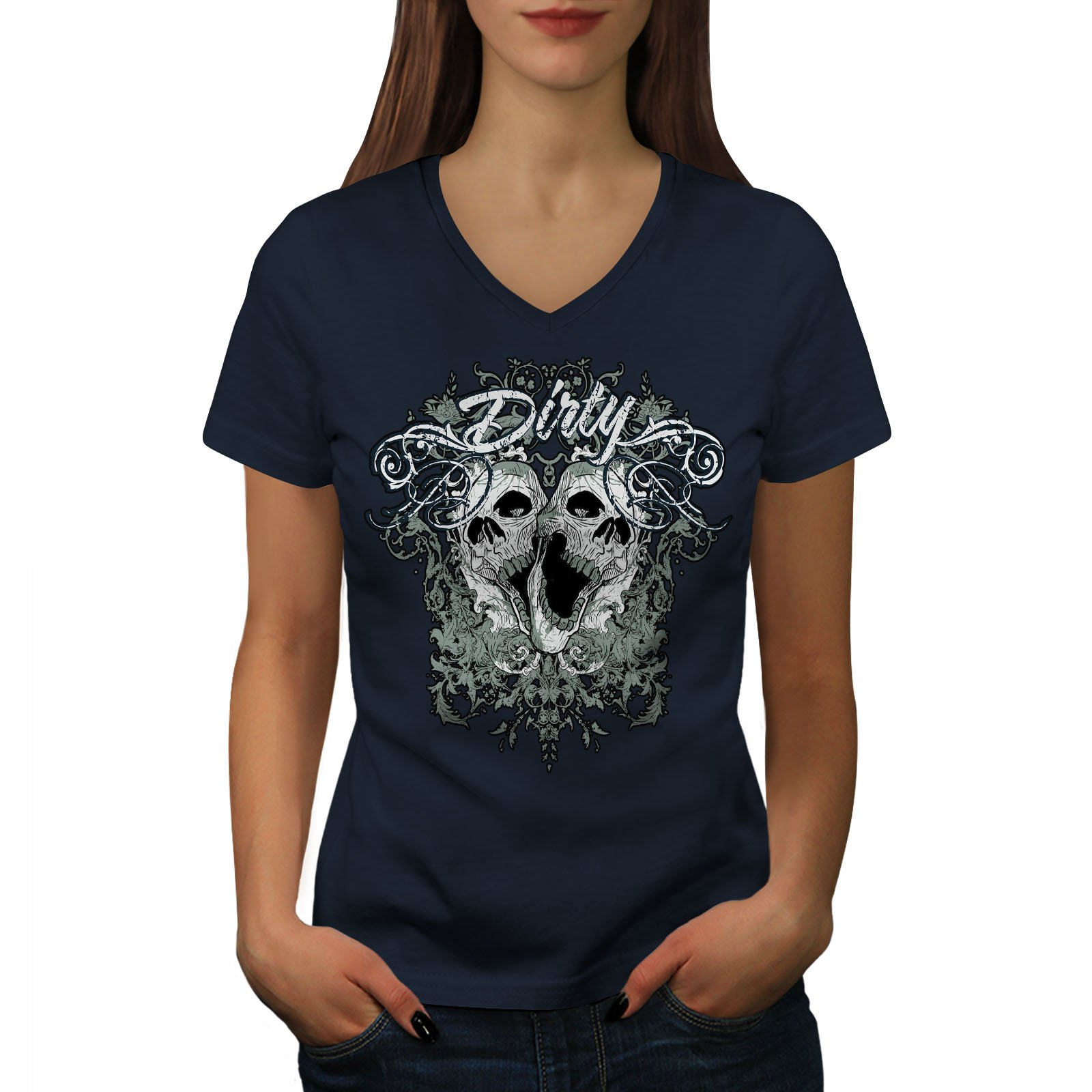 wellcoda Dirty Metal Goth Skull Womens V-Neck T-Shirt, Dead Casual Design Tee Navy M by wellcoda