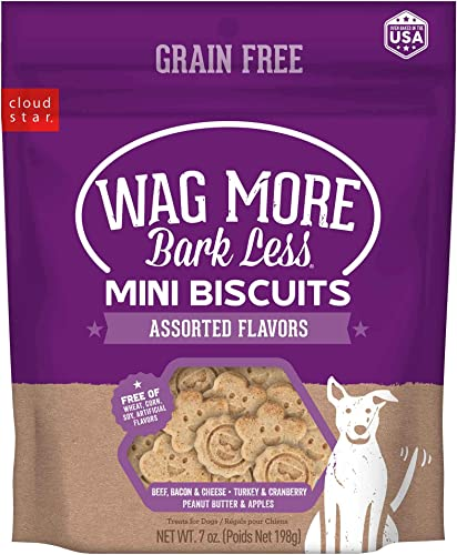 Cloud Star Wag More Bark Less Grain Free Mini Biscuits, Bite Sized Crunchy Dog Treats, 7oz Bag