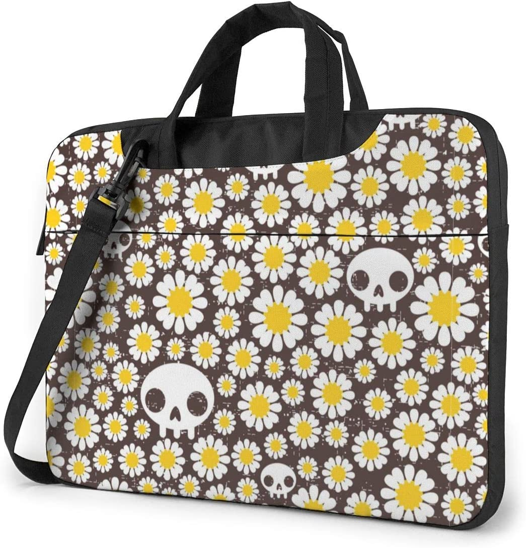 NEPower Laptop Tote Bag Camomile and Skulls Durable Notebook Messenger Bag with Strap Fits 13-15.6in Notebook for College