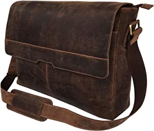 18 Inch Vintage Computer Leather Laptop Messenger Bags for Men Leather Briefcase Shoulder Bag Man & Women Bag (vintage brown)