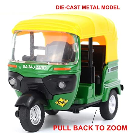 Jiada Kid's Auto Rikshaw 3 Wheeler Die Cast Toy, 1:14 Scale (Green and  Yellow)