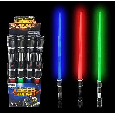 Liberty Imports [VALUE BUNDLE] 12 Pack LED Laser Swords Expandable Light Up Sabers with FX Sound Effects (Bulk)