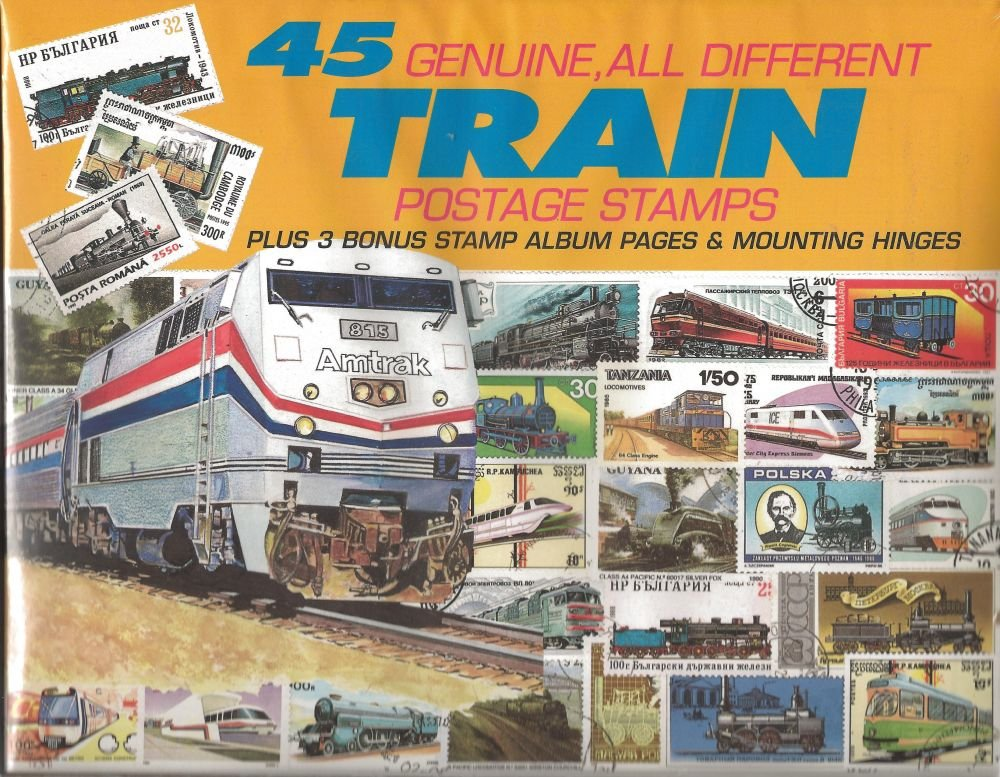 45 Genuine Postage Stamps Assortment - Trains by DOMAGRON