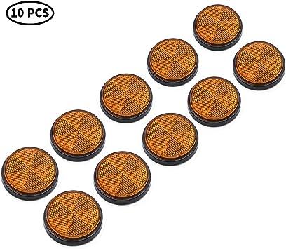 TAEUTO 10 x Catadioptrico Redondo Amarillo Adhesivo Remolque para Cami/ón RV Caravana Coche Remolque Tractor Catadioptrico Redondo Remolque Adhesivo Reflectores Adhesivo Redondo Amarillo Amarillo
