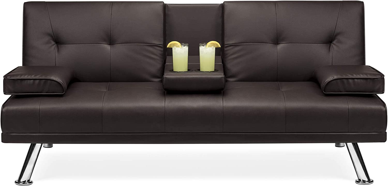 Best Choice Products Modern Faux Leather Convertible Folding Futon Sofa Bed Recliner Couch w/Metal Legs, 2 Cup Holders - Brown
