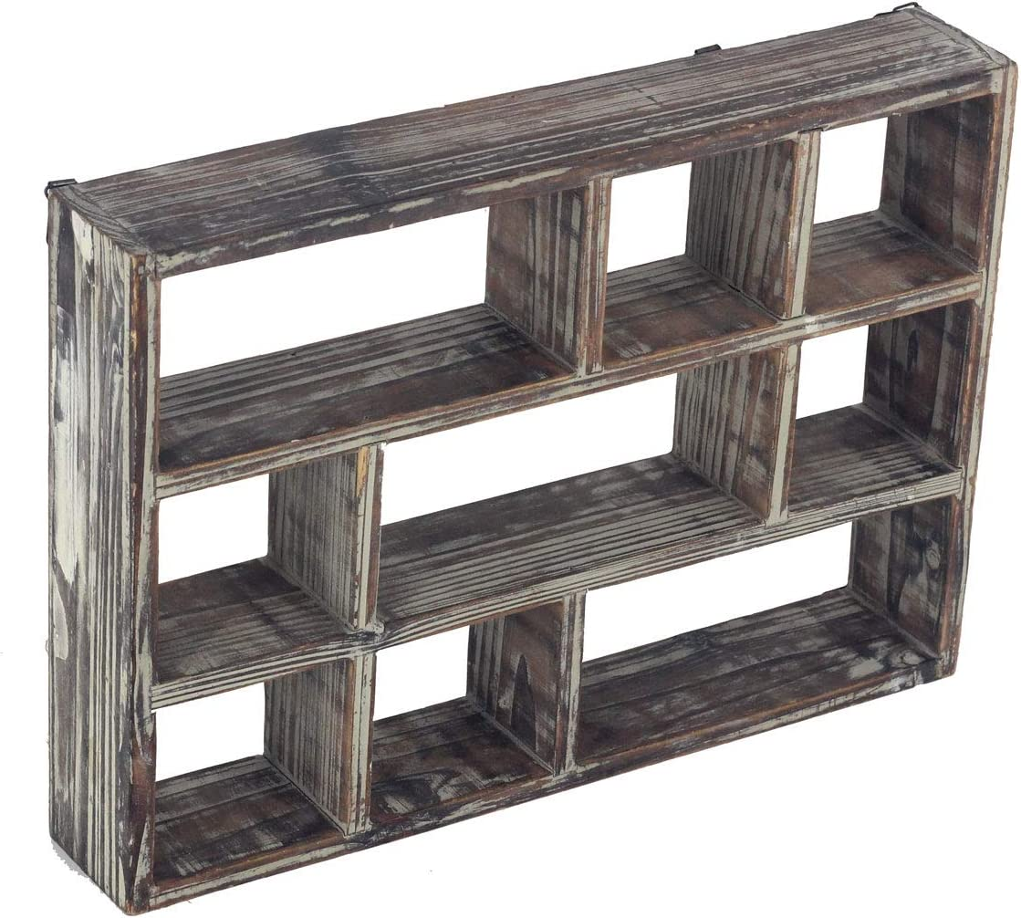 16 Inch 9-Compartment Rustic Brown Wood Freestanding Wall Mountable Shadow Box Display Shelf