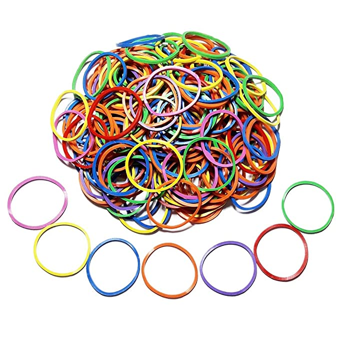 "200 Pcs 2.5cm 1"" Small Assorted Mixed Rainbow Colorful Rubber Bands Bulk Elastic Wide Money Rubber Bands Stationery Holder Thermostability Strong Elastic Band Loop Office Supplies (Multi Colored)"