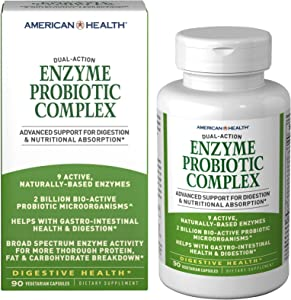 American Health Enzyme Probiotic Complex Vegetarian Capsules - Promotes Gastro-Intestinal Health and Digestion, Supports Protein, Fat and Carbohydrate Breakdown - Non-GMO - 45 Total Servings