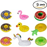 Inflatable Drink Holders, HOMEWE 9Packs Drink Floats Fruit Donuts Duck Flamingo Unicorn Cup Holders Pool Floats Toys Swim Toy for Pool Party, Bath Time, Summer