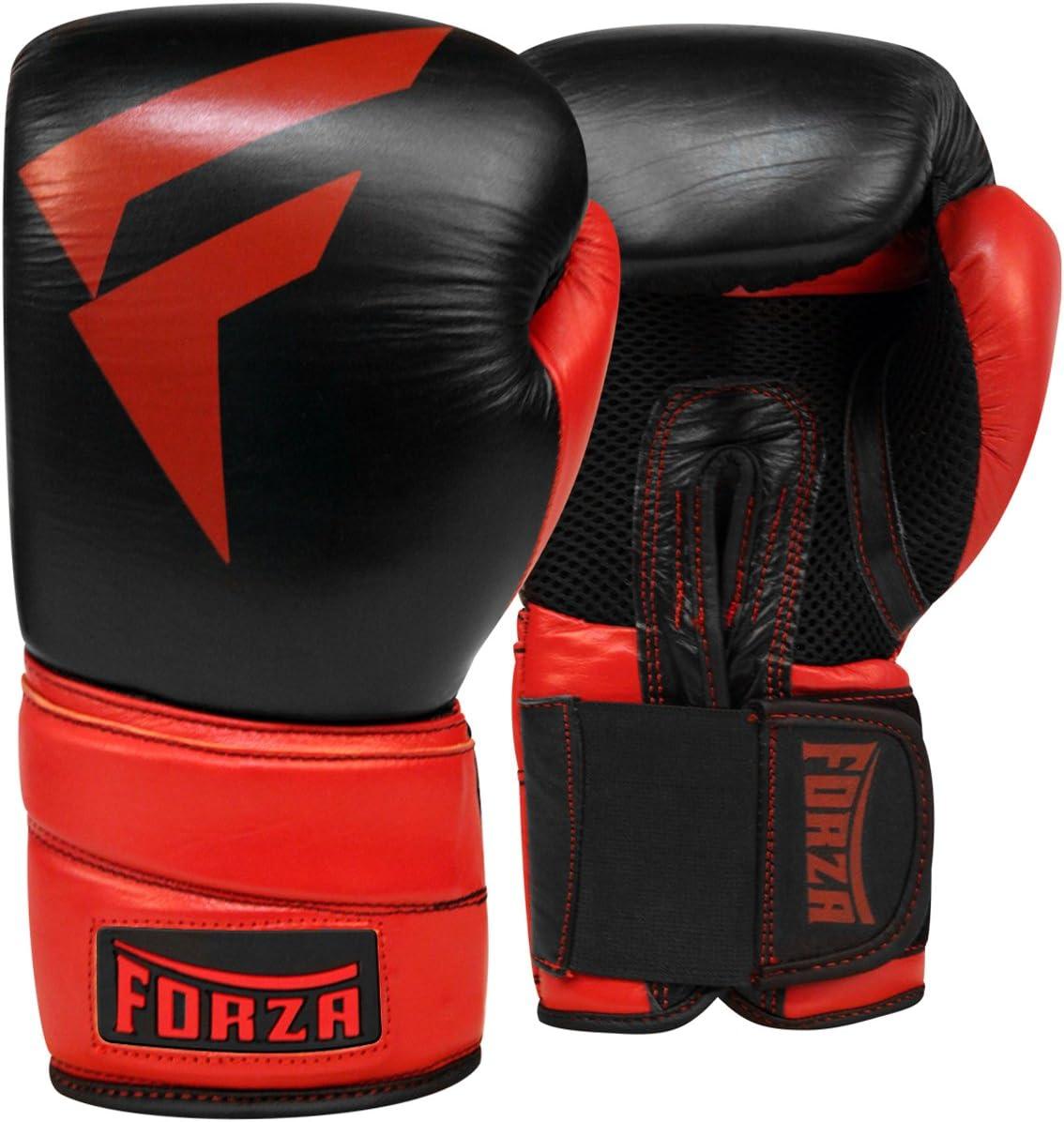 Forza MMA Proレザーボクシンググローブ – ブラック/レッド