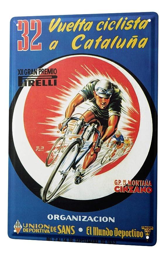 Cartel Letrero de Chapa Diversión Carrera de bicicletas Cataluña