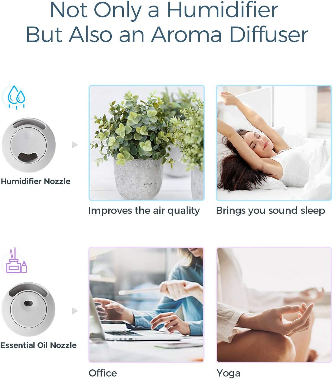 Ultrasonic Humidifiers for Bedroom Auto Shut-off 28dB Super-Quiet Air Humidifier for Cough Homasy Cool Mist Humidifiers 4.5L Baby Room-Grey UPGRADED Aroma Oil Diffuser with 30 Working Hours
