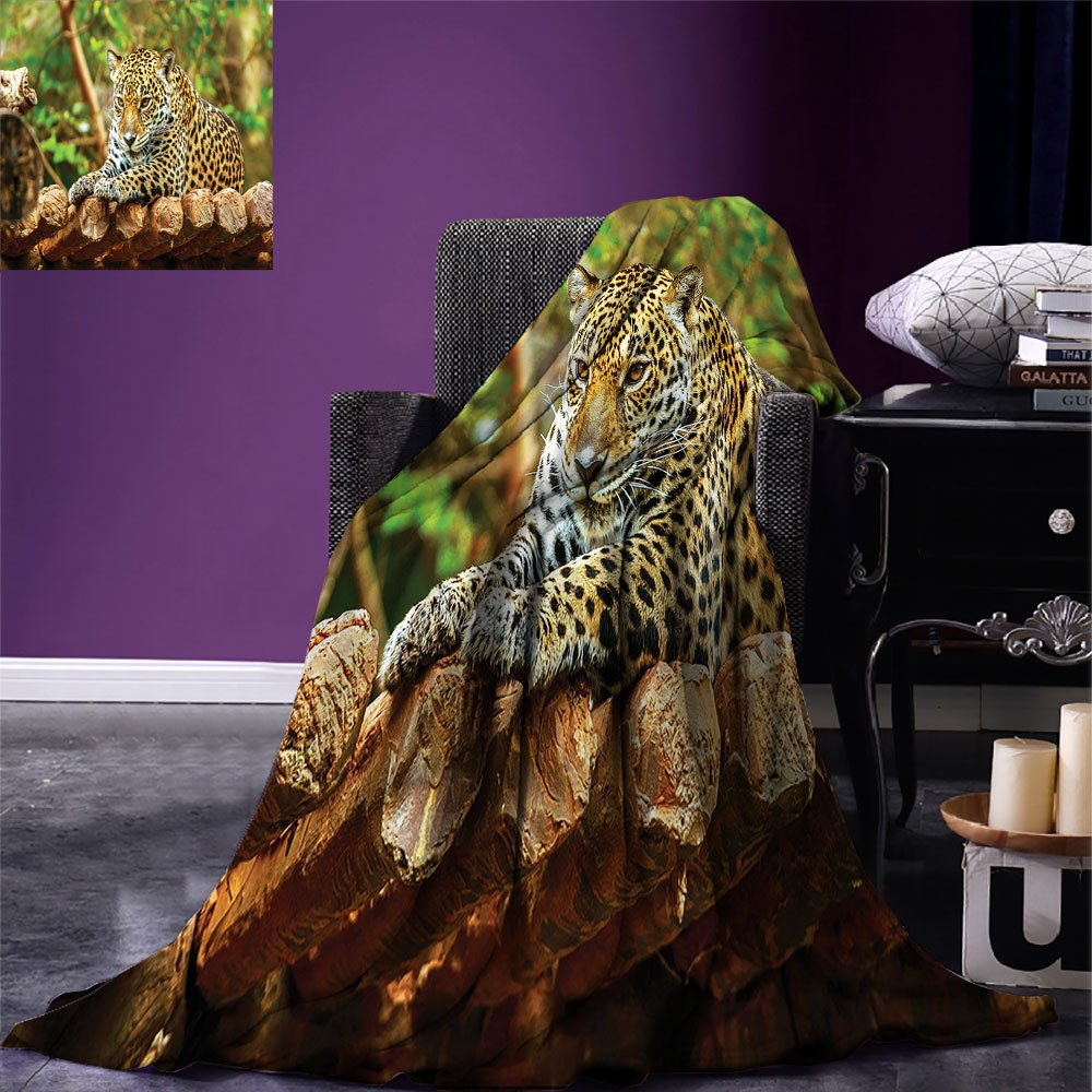 Zoo Digital Printing Blanket Jaguar on Wood Floor Wildlife Animals Feline Big Cat Mammal Predator Resting Summer Quilt Comforter Green Yellow Brown