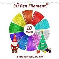 Filamento PLA de 1.75 mm, Repuestos de Plumas para impresión 3D, 10 Colores, 16 Pies / 5 m Cada Uno, 164 Pies en Total, Precisión Dimensional 1.75± 0.02 mm, Paquete Sellado al Vacío
