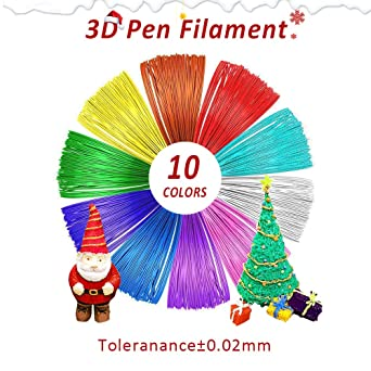 Filamento PLA de 1.75 mm, Repuestos de Plumas para impresión 3D, 10 Colores, 16 Pies / 5 m Cada Uno, 164 Pies en Total, Precisión Dimensional 1.75± ...