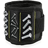 Magnetic Wristband, 5 Strong Magnets for Holding Screws, Nails, Drill Bits,Screwdriver Bits, Gift for DIY Handyman, Dad, Husband, Men, Women - Black