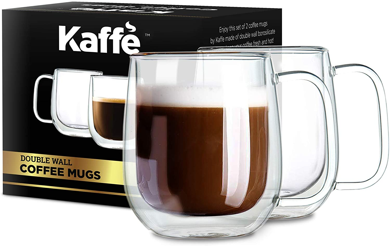Kaffe 10oz Coffee Mugs. Set of 2 (Two) Double-Wall Borosilicate Glass Cups.