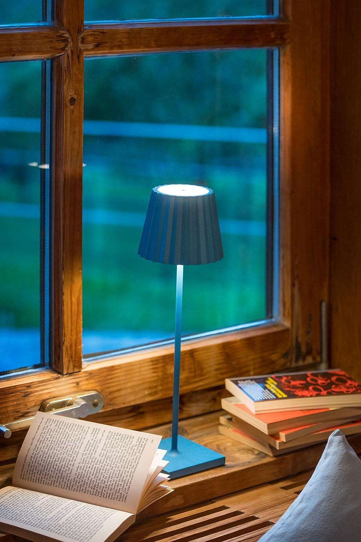 sompex Troll 2.0 LED Gartentischleuchte Aluminium Spritzwasserschutz Farbe:blau Inkl Dimmbar Akkubetrieben Ladestation