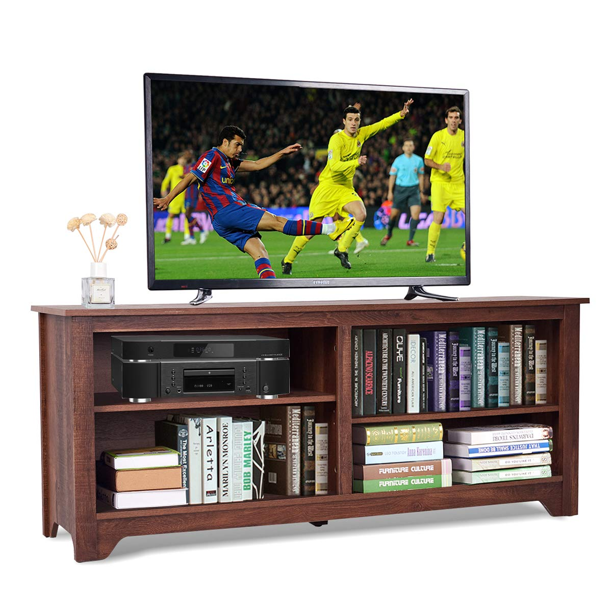 Amazon com tangkula tv stand modern wood storage console entertainment center for tv up to 58 home living room furniture with 4 open storage shelves