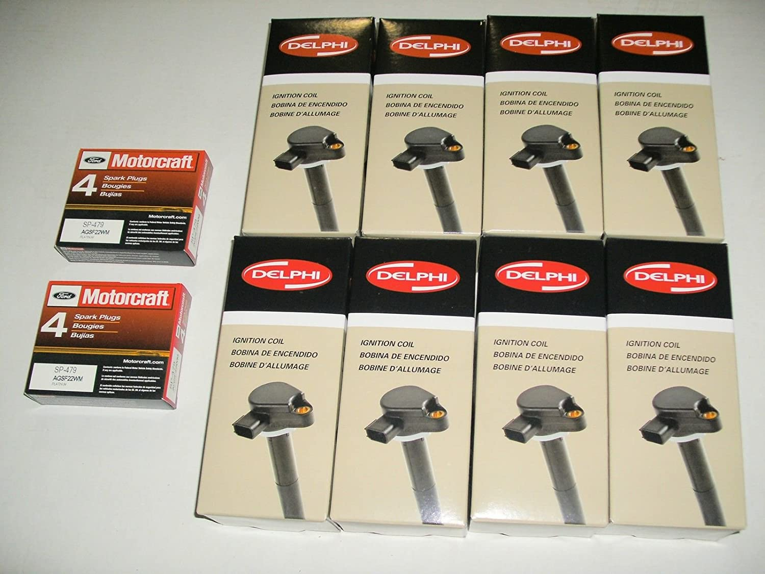 Amazon.com: Set of All 8 Delphi Ignition Coils & 8 Motorcraft Platinum Plugs Sp479 New: Automotive