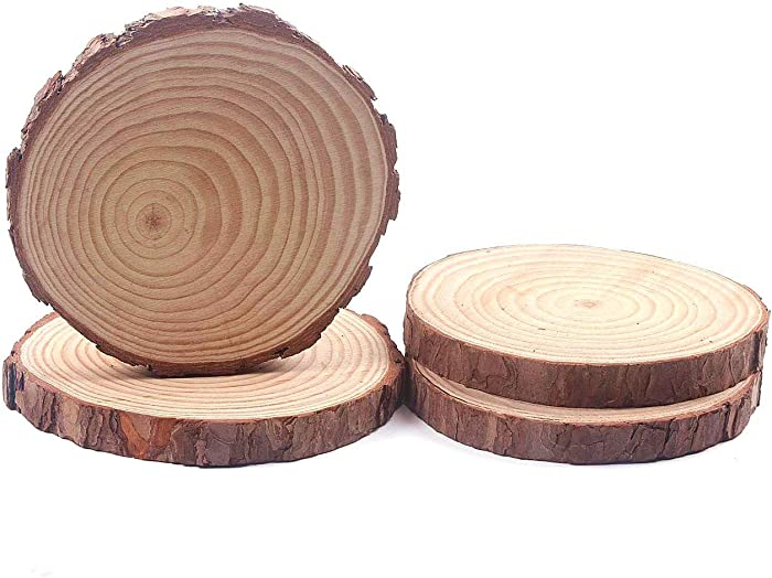 Natural Wood Slices, Round Pinewood Slabs, 9 to 10 inch, Rustic Tree Bark Slice, Weathered Log Disc, Outdoor Country Barn Wedding Table Centerpiece, (Pack of 4)