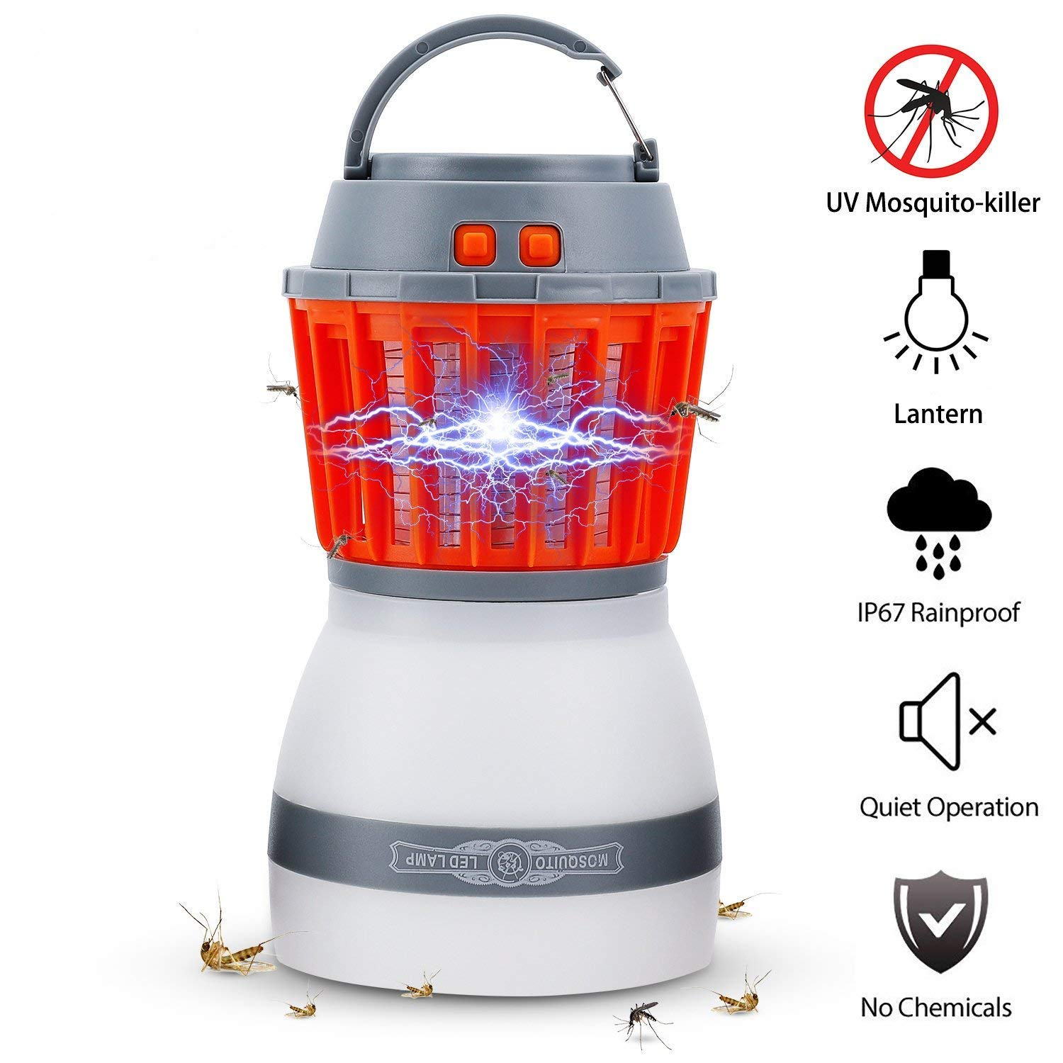 Bug Zapper Lamp-Mosquito Zapper Lamp-2-In-1 Zapper Lantern Charge Via USB-Lightweight Camping Gear & Accessories For The Outdoors & Emergencies-IP67 Waterproof-Compact- 2200mAh Rechargeable Travel Lig
