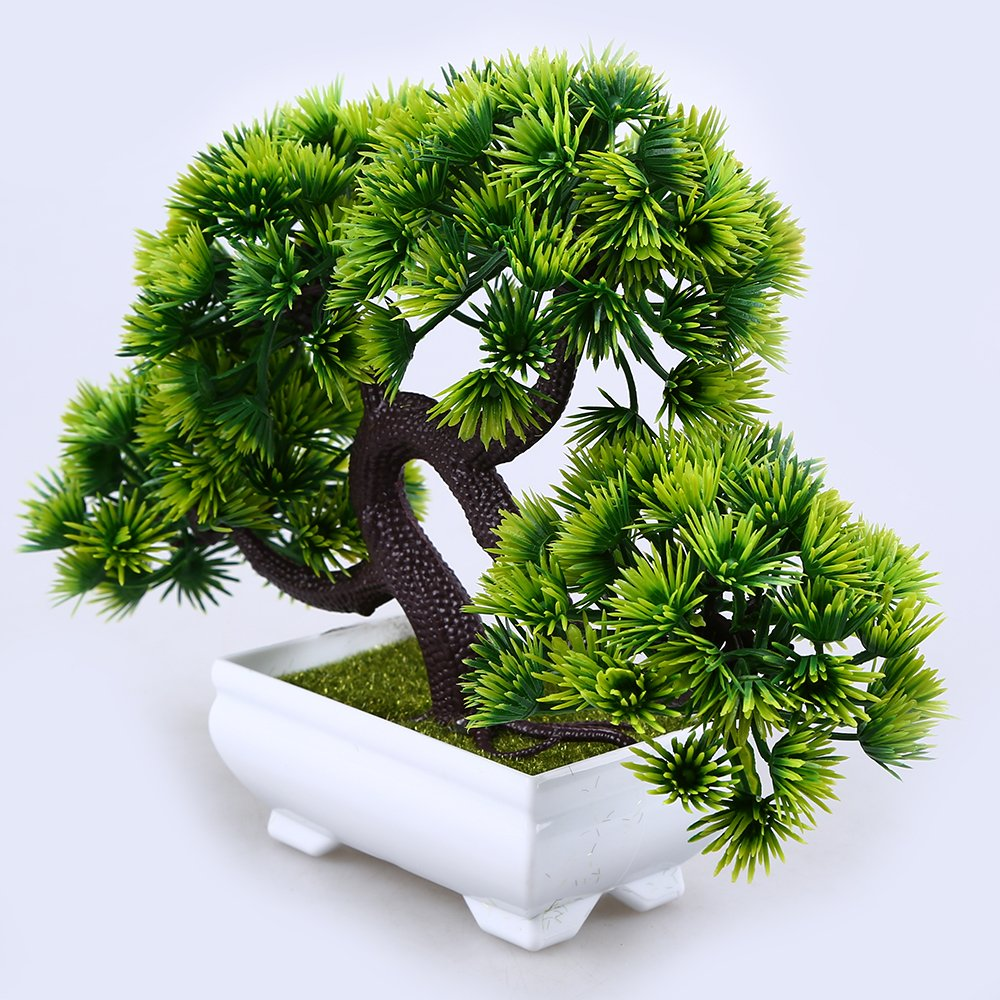 WCIC Artificial Pine Bonsai, Fake Potted Plants Decor for Home Office Green by WCIC (Image #5)