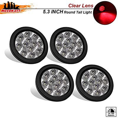 Meerkatt (Pack of 4) 4 Inch Clear Lens Red LED 12 Diodes Round Side Marker Clearance Light Sealed Surface Mount Brake Stop Fender for Trailer ATV Jeep Truck Bus Pickup RV 12v DC w/Grommet & Plug GA12: Automotive