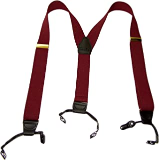 product image for Holdup Suspender Company dark Merlot Burgundy wine colored Double-Up style Y-back Suspenders with Patented black No-slip Clips.