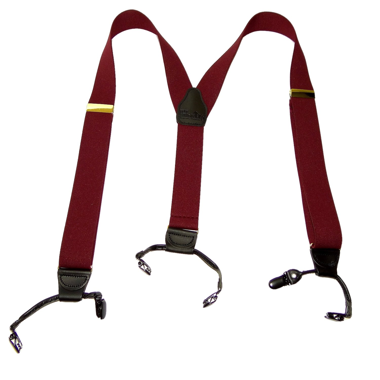 Holdup Suspender Company dark Merlot Burgundy wine colored Double-Up style Y-back Suspenders with Patented black No-slip Clips.